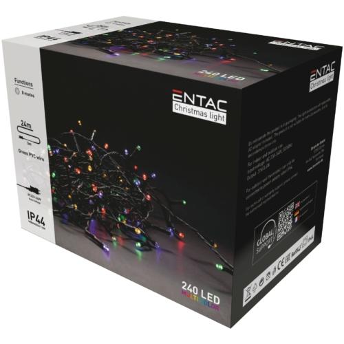 Entac Karácsonyi IP44 240 LED Füzér Színes 24m