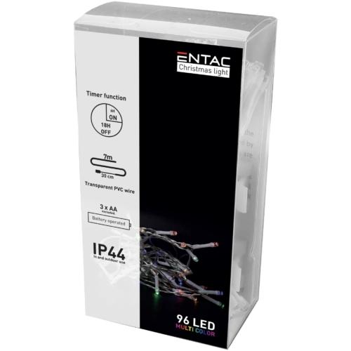 Entac Karácsonyi IP44 Füzér 96 LED Időzítővel Színes 7m (3AA)