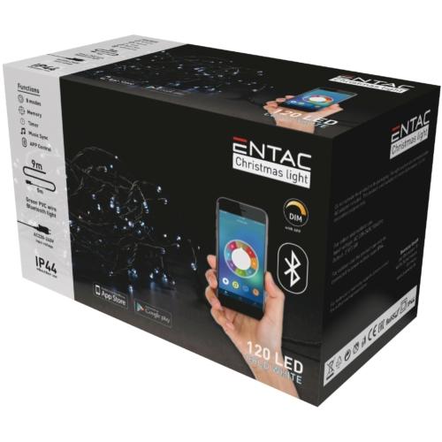 Entac Karácsonyi IP44 Fényfüzér 120 LED CW 9m BT aplikáció