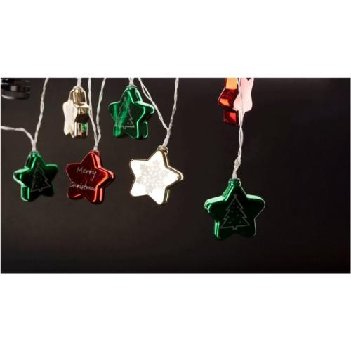 Entac Karácsonyi Beltéri Színes Csillag 60mm Füzér 10 LED WW 1,65m (2AA nt.)