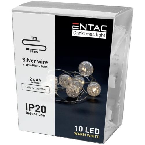 Entac Karácsonyi Beltéri Füzér Áttetsző Műanyag golyó 10 LED WW 1m (2AA nt.)
