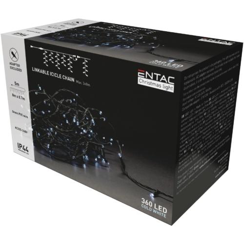 Entac Karácsonyi IP44 360 LED Sorolható Jégcsapfüzér CW 8m adapter nélkül