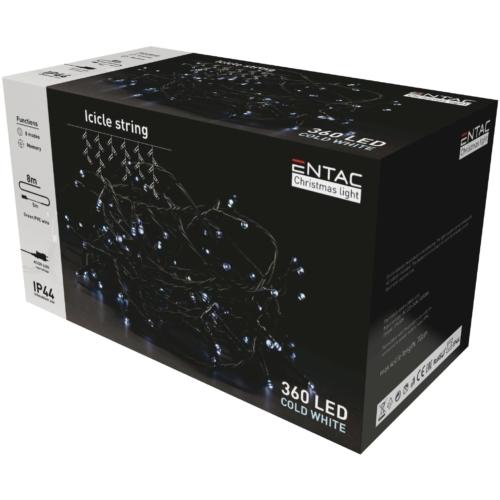 Entac Karácsonyi IP44 360 LED Jégcsapfüzér CW 8m