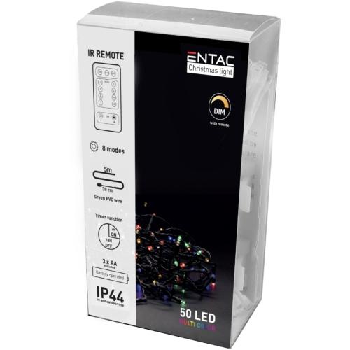 Entac Karácsonyi IP44 Fényfüzér 50 LED MC 5m IR Távirányítóval (2AA)