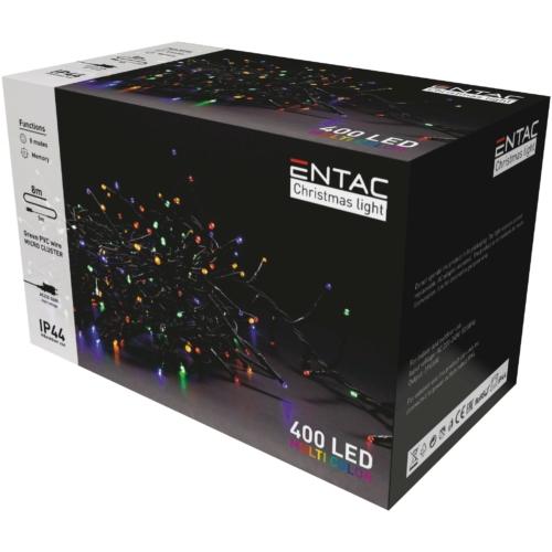 Entac Karácsonyi IP44 400 LED Fürtös Fénysor Színes 8m
