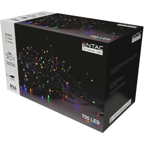 Entac Karácsonyi IP44 700 LED Fürtös Fénysor Színes 14m