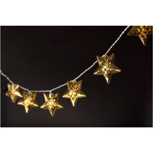 Entac Karácsonyi Beltéri Fém Arany Csillag 10 LED WW 1,65m (2AA nt.)