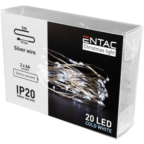 Entac Karácsonyi Beltéri Drótfüzér 20 LED CW 1m (2AA nt.)