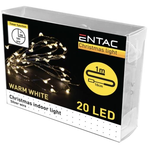 Entac Karácsonyi Beltéri Mini Drótfüzér 20 LED Időzítővel WW 1m (2x2032 tart.)