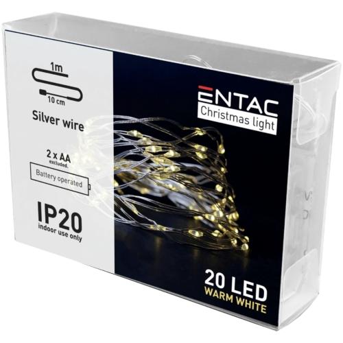 Entac Karácsonyi Beltéri Drótfüzér 20 LED WW 1m (2AA nt.)