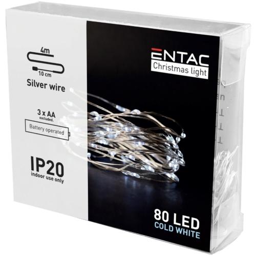 Entac Karácsonyi Beltéri Drótfüzér 80 LED CW 4m (3AA nt.)