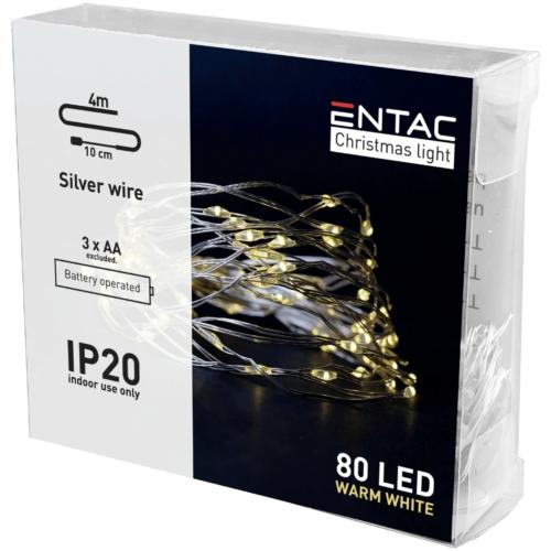 Entac Karácsonyi Beltéri Drótfüzér 80 LED WW 4m (3AA nt.)