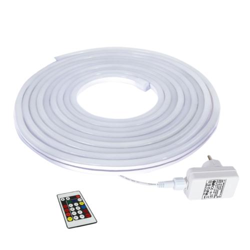 Commel neon LED szalag szett, 24 W, IP 44, 12 V, 5 m, távirányítóval