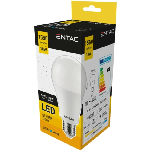 Entac LED izzó E27 18W CW 6400K