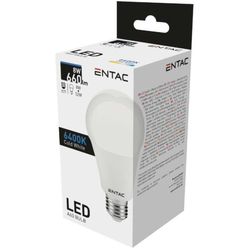 Entac LED izzó E27 8W CW 6400K