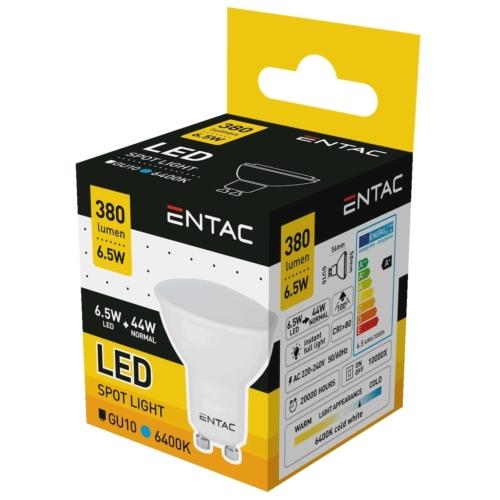 Entac LED spot izzó GU10 6,5W CW 6400K