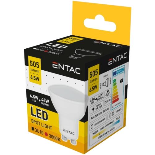 Entac LED spot izzó GU10 6,5W WW 3000K