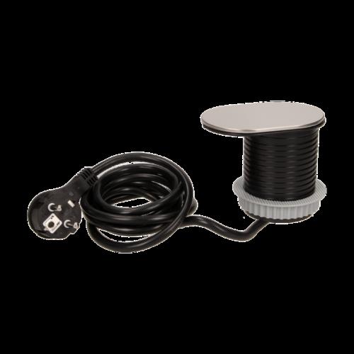 Orno süllyeszthető bútor elosztó 6 cm, eltolható fedél, USB töltő, 1.9 m kábel