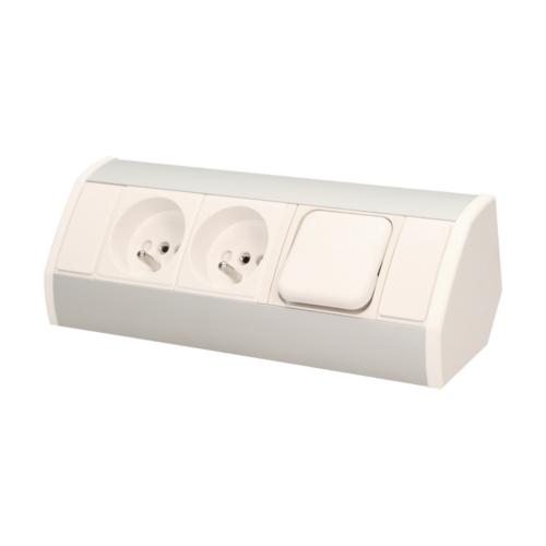 Orno szekrény alatti elosztó, kettő 2P + Z aljzat, kapcsolóval, 0.6 méter kábel, fehér-szürke