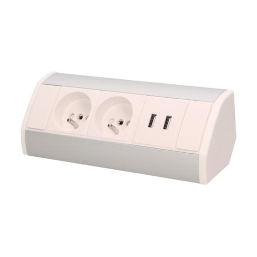 Orno szekrény alatti elosztó, 2x2P + Z aljzat, 2x USB csatlakozóval (5VDC/2.1A) 0.6 méter kábel