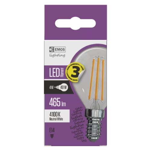 EMOS LED FILAMENT IZZÓ MINI GL 4W (40W) 465LM E14 NW A++ (Z74231)