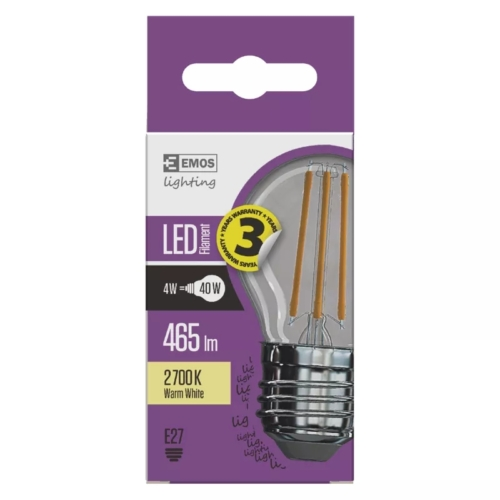 EMOS LED FILAMENT IZZÓ MINI GL 4W (40W) 465LM E27 WW A++ (Z74240)