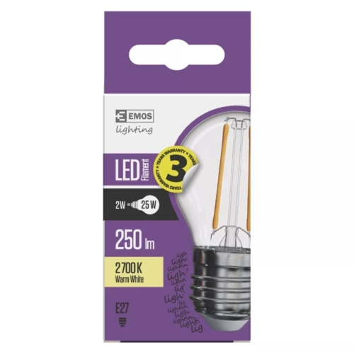 EMOS LED FILAMENT IZZÓ MINI GL 2W (25W) 250LM E27 WW A++ (Z74245)