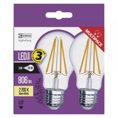 EMOS LED FILAMENT IZZÓ A60 6W (60W) 806LM E27 WW 2DB A++