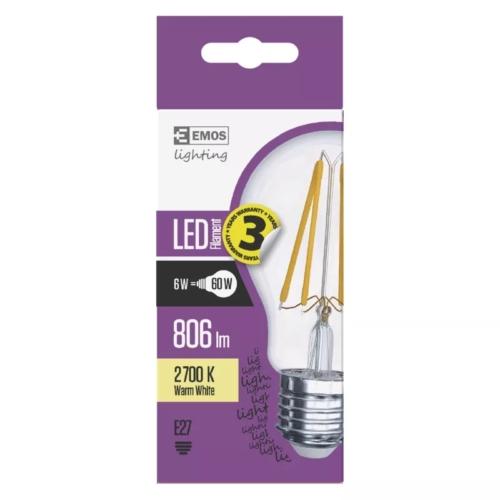EMOS LED FILAMENT IZZÓ A60 6W (60W) 806LM E27 WW A++ (Z74260)