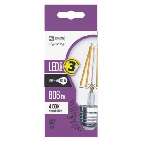 EMOS LED FILAMENT IZZÓ A60 6W (60W) 806LM E27 NW A++