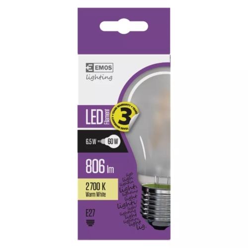 EMOS LED FILAMENT IZZÓ A60 6,5W (60W) 806LM WW MATT A++ (Z74265)