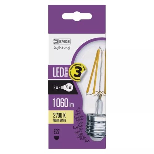 EMOS LED IZZÓ FILAMENT A60 8W (75W) 1060LM E27 WW A++ (Z74270)