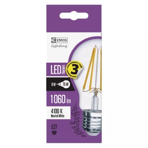EMOS LED FILAMENT IZZÓ A60 8W (75W) 1060LM E27 NW A++
