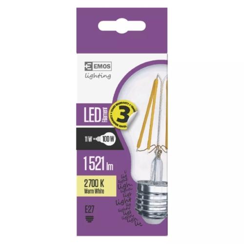 EMOS LED IZZÓ FILAMENT A60 11W (100W) 1521LM E27 WW A++