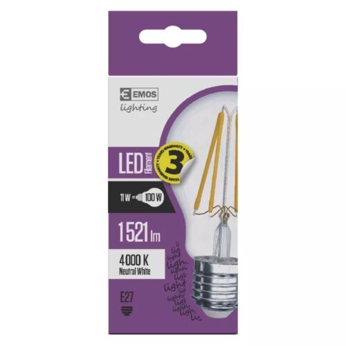 EMOS LED IZZÓ FILAMENT A60 11W (100W) 1521LM E27 NW A++