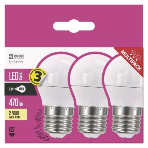 EMOS LED IZZÓ CLASSIC MINI GL 6W (40W) 470LM E27 WW 3DB
