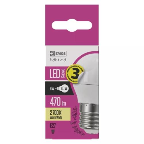 EMOS LED IZZÓ CLASSIC MINI GL 6W (40W) 470LM E27 WW (ZQ1120)