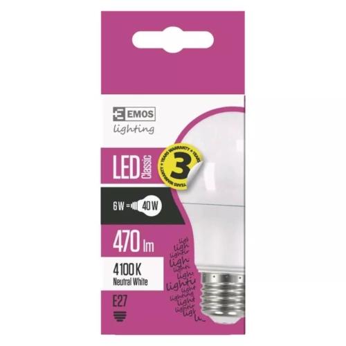 EMOS LED IZZÓ CLASSIC A60 6W (40W) 470LM E27 NW