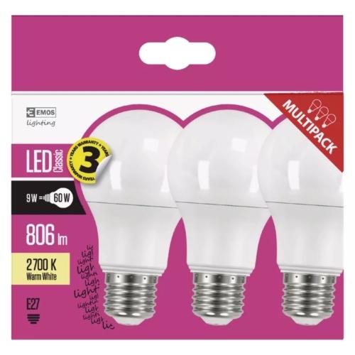 EMOS LED IZZÓ CLASSIC A60 9W (60W) 806LM E27 WW 3DB