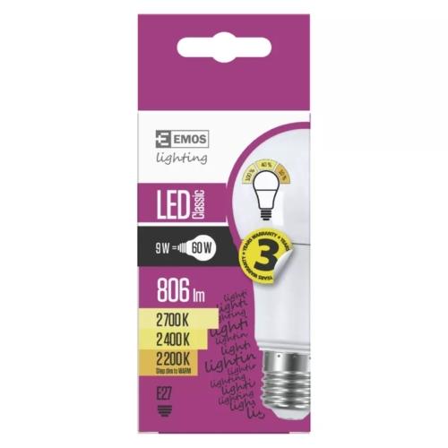 EMOS LED IZZÓ CLASSIC A60 9W (60W) 806LM E27 WW 3STEP-DIM-TO-WARM