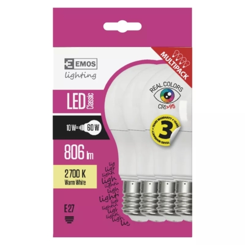 EMOS LED IZZÓ CLASSIC A60 10W (60W) 806LM E27 WWRa>95 4DB (ZQ5147.4)