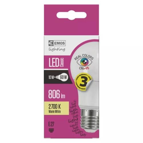 EMOS LED IZZÓ CLASSIC A60 10W (60W) 806LM E27 WW Ra>95 (ZQ5147)