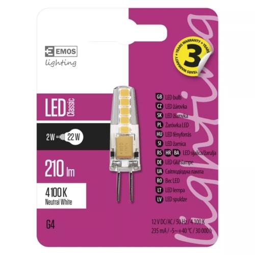 EMOS LED IZZÓ CLASSIC JC A++ 2W (22W) 210LM G4 NW