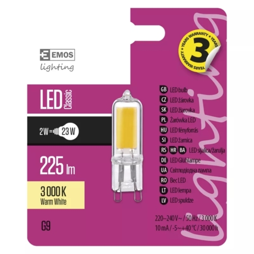 EMOS LED IZZÓ CLASSIC JC A++ 2W (23W) 225LM G9 WW