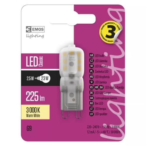 EMOS LED IZZÓ CLASSIC JC A++ 2,5W (23W) 225LM G9 WW