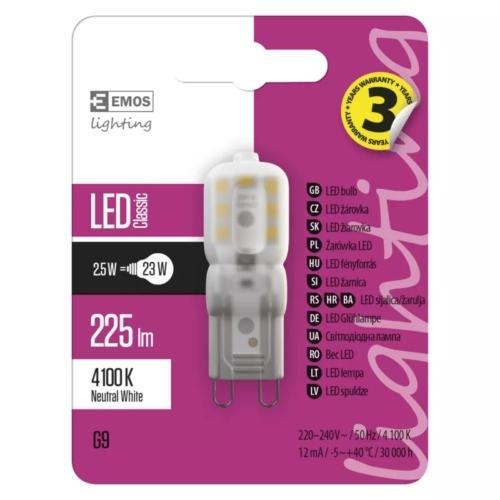 EMOS LED IZZÓ CLASSIC JC A++ 2,5W (23W) 225LM G9 NW