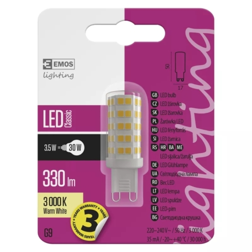 EMOS LED IZZÓ CLASSIC JC A++ 3,5W (30W) 330LM G9 WW