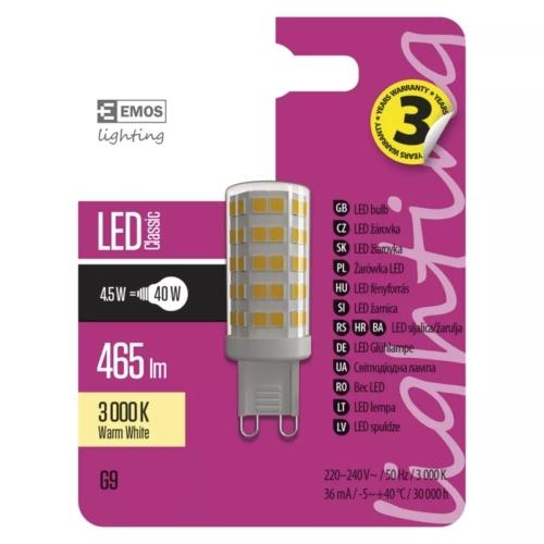 EMOS LED IZZÓ CLASSIC JC A++ 4,5W (40W) 465LM G9 WW