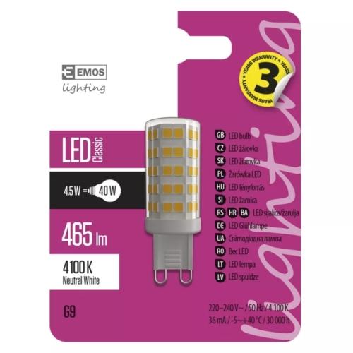EMOS LED IZZÓ CLASSIC JC A++ 4,5W (40W) 465LM G9 NW