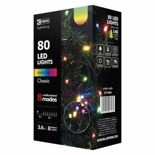 EMOS Karácsonyi Fényforrás Multifunkció 8M 80LED IP44 színes